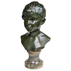 Bronze Bust of Girl on Marble Base