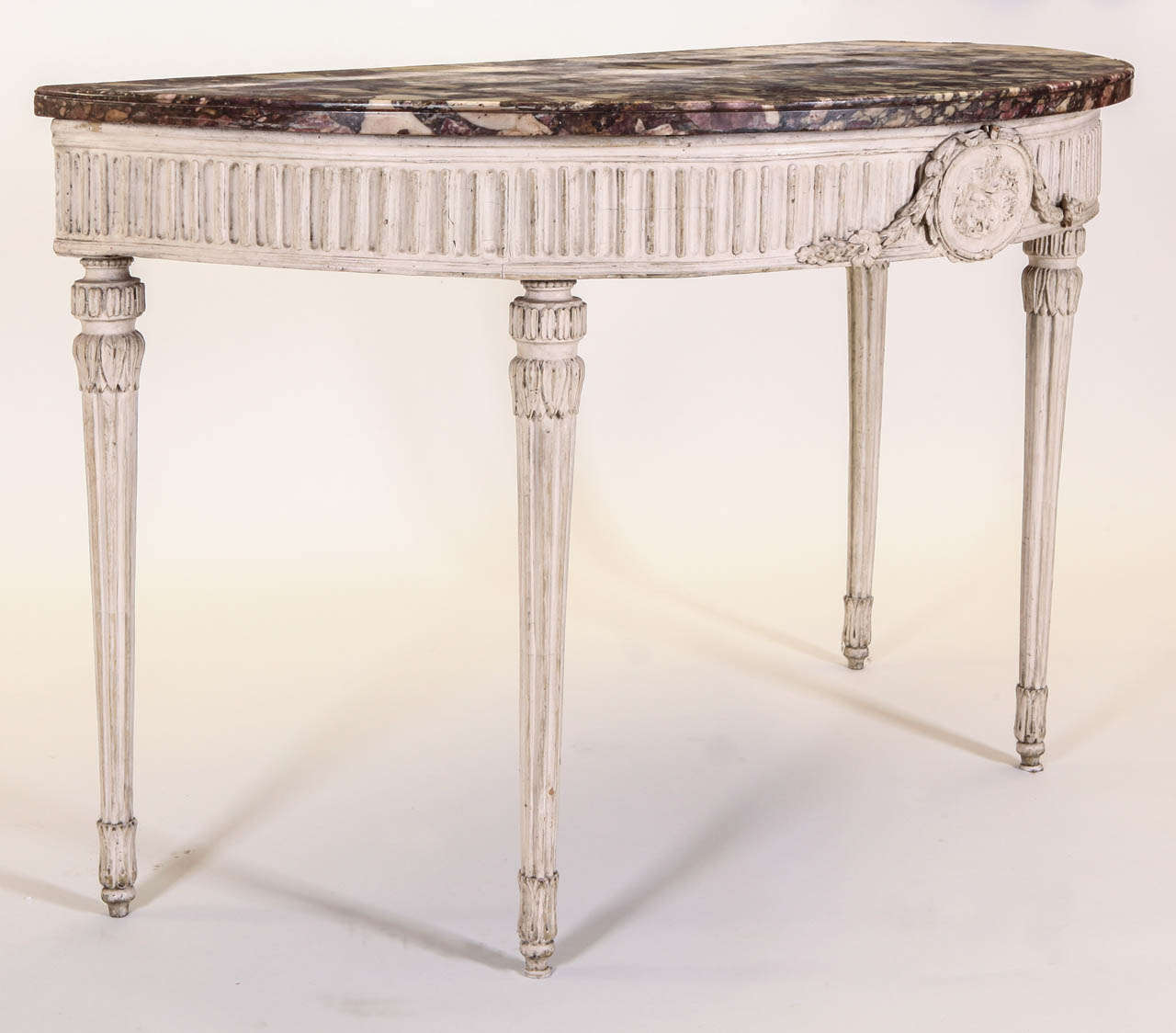 Charmant 18th Century Fine Italian 18u0027 Century Demi Lune Ivory Painted Console Table  Louis XVI