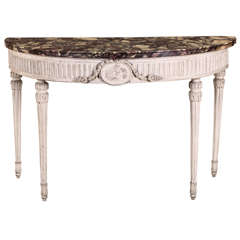 Fine Italian 18' century Demi-lune Ivory Painted Console Table Louis XVI period