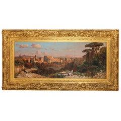 A Fine Roman Landscape Depicting the Colosseum and the Via Sacra