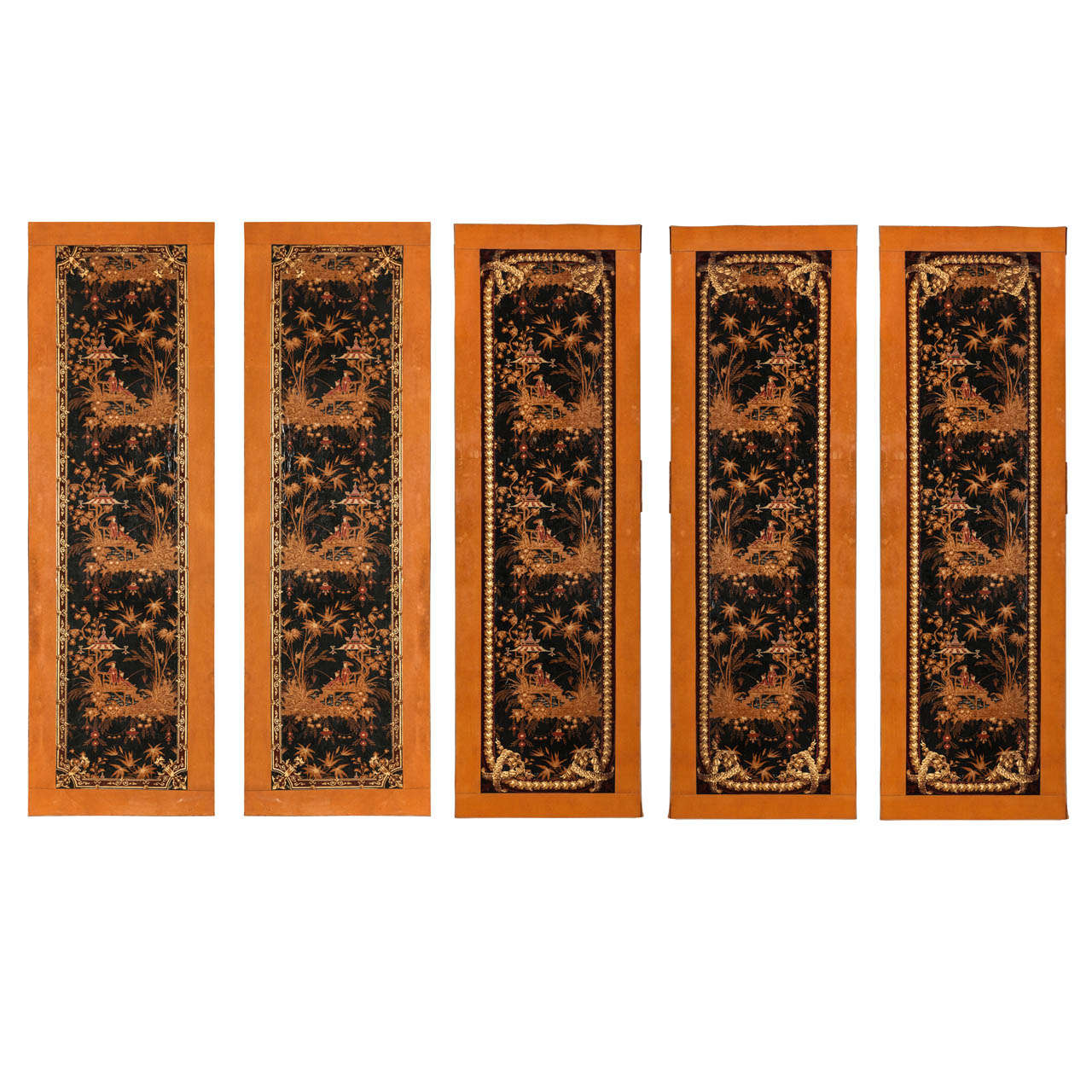 Fine Set of Five French Papier Paint a Chinoiserie
