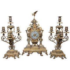 French 19th Century Bronze, Three-Piece Chinoiserie Style Clock Set