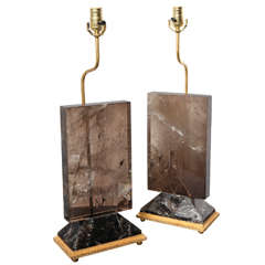 Pair of Deco Style Dark Rock Crystal Quartz Table Lamps