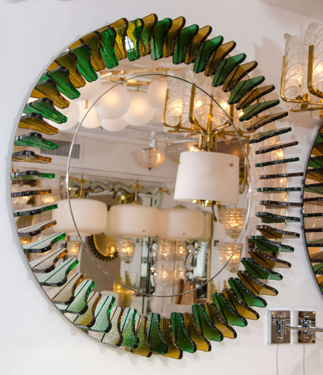 Green and Amber Glass Girasole Style Mirror 2