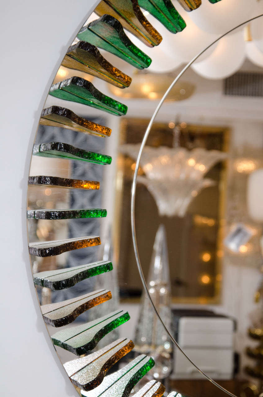 Green and Amber Glass Girasole Style Mirror 3