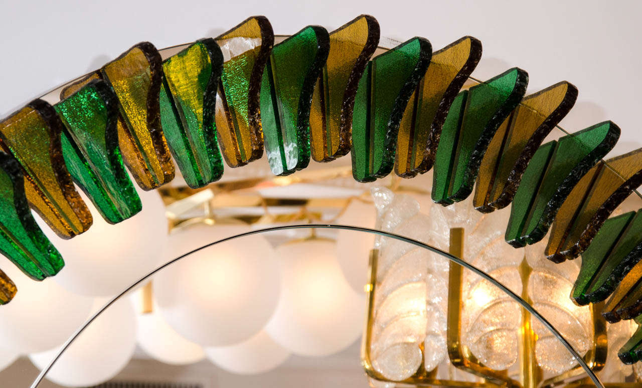 Green and Amber Glass Girasole Style Mirror 4