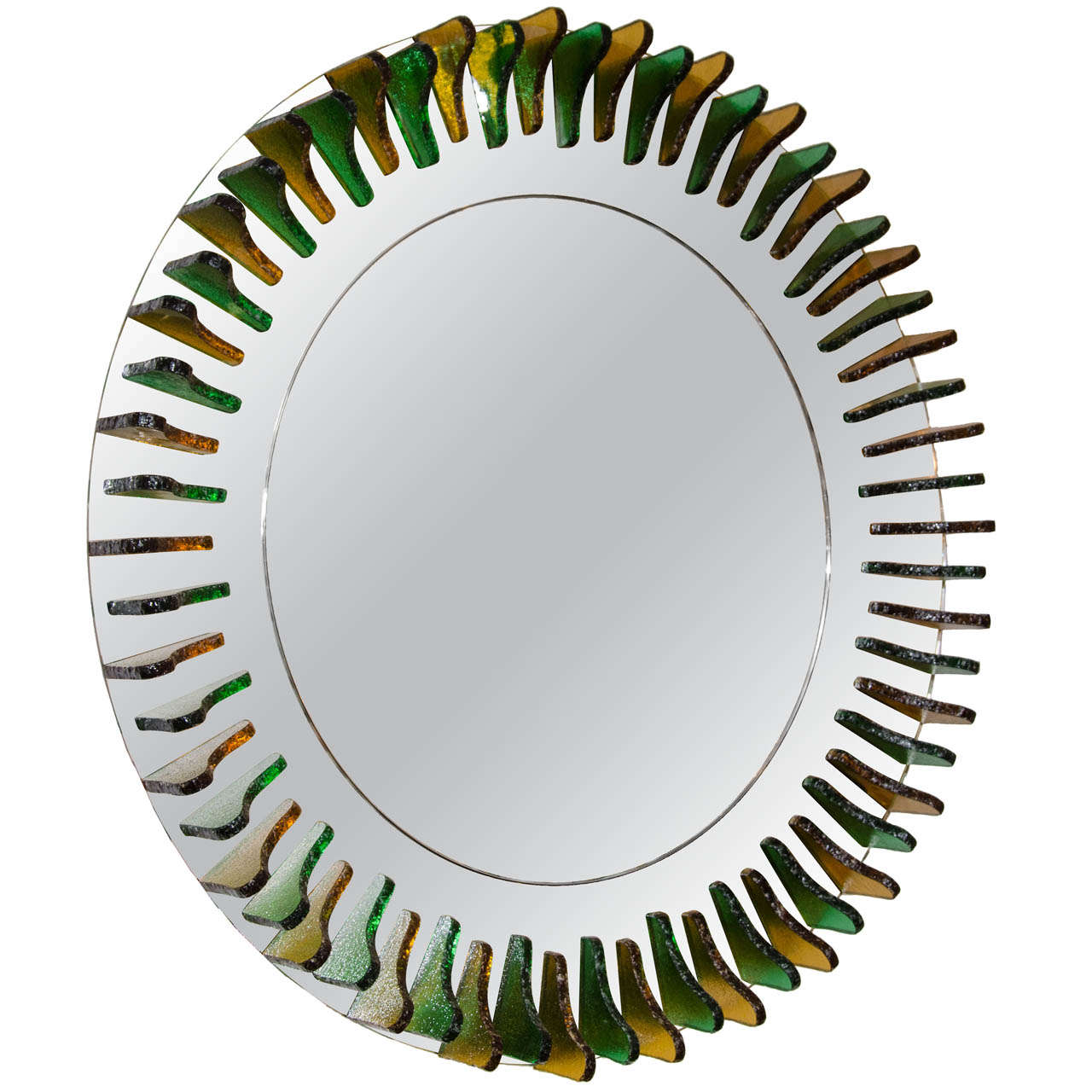 Green and Amber Glass Girasole Style Mirror 1