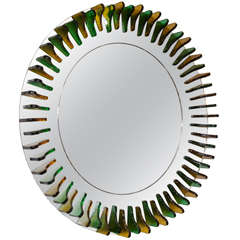 Green and Amber Glass Girasole Style Mirror