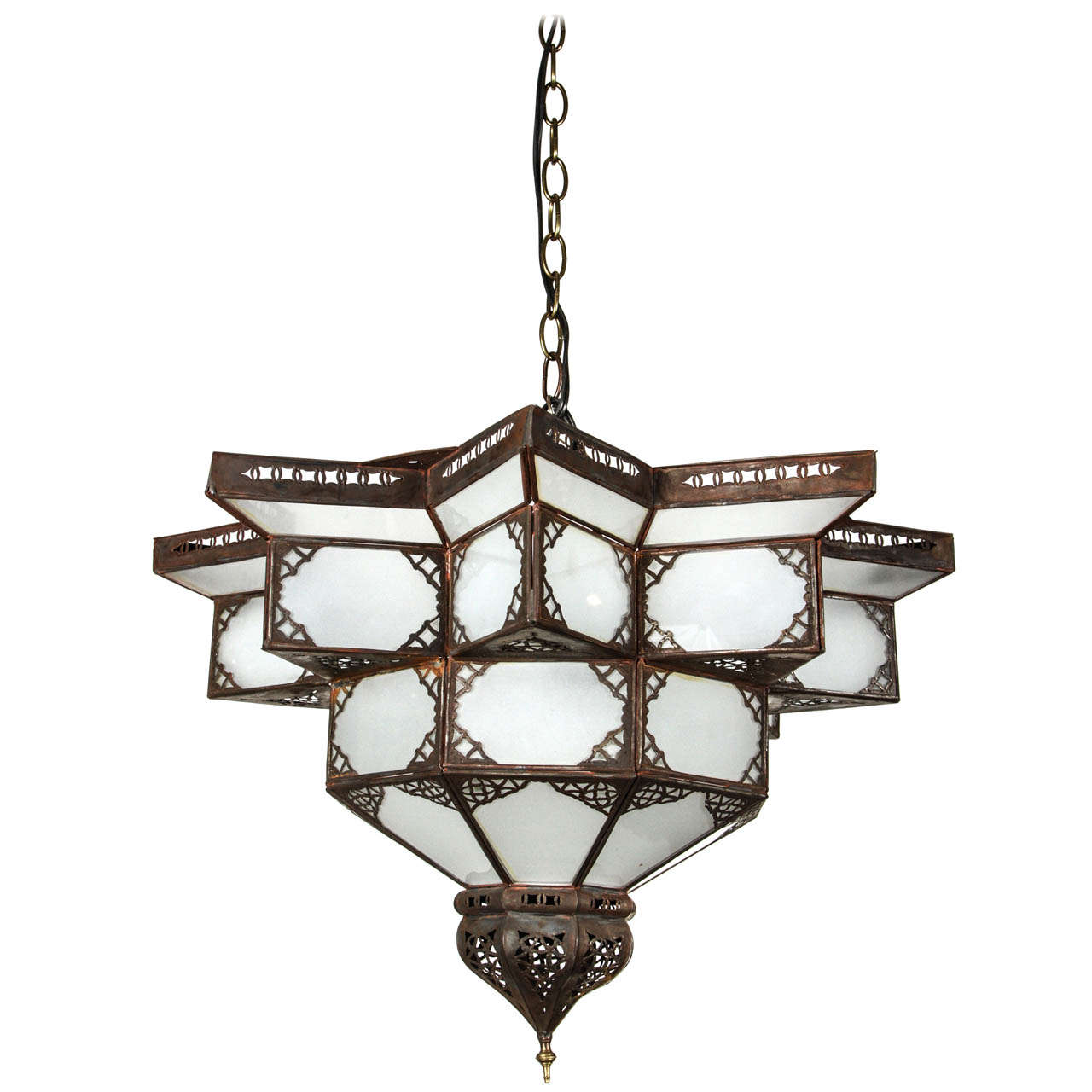 Moroccan star shape frosted glass chandelier at 1stdibs - Moorish chandelier ...