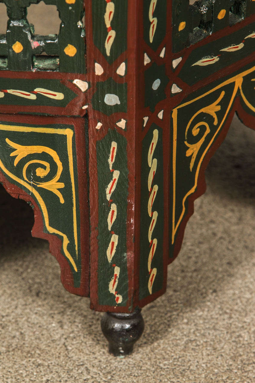 Moroccan hand painted dark green side table for sale at for Moroccan hand painted furniture
