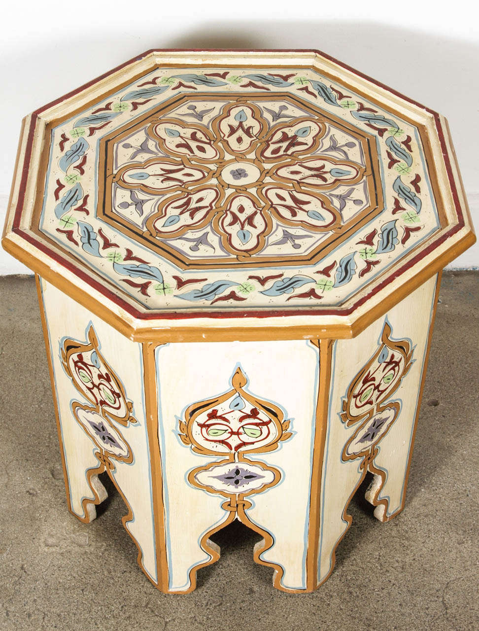 Moroccan Octagonal Hand Painted White Side Table at 1stdibs