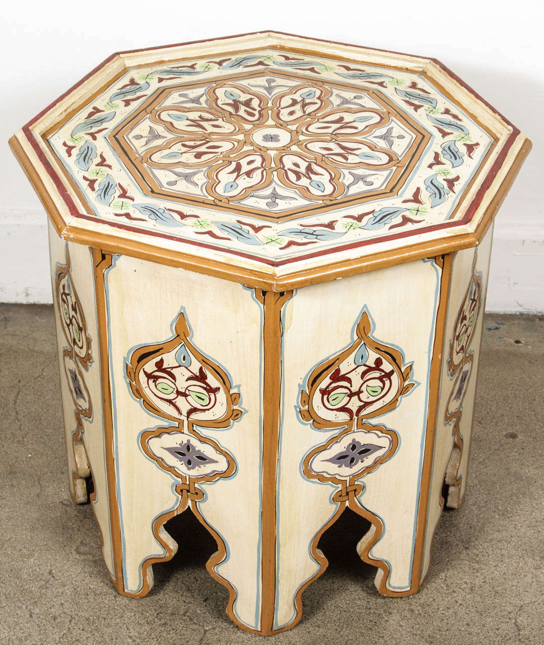 Moroccan octagonal hand painted white side table at 1stdibs for Moroccan hand painted furniture