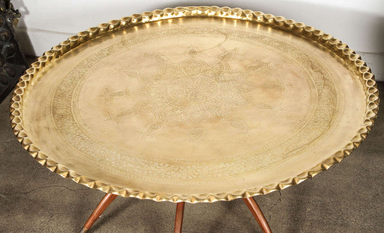 Large Round Brass Tray Table On Spider Folding Stand At