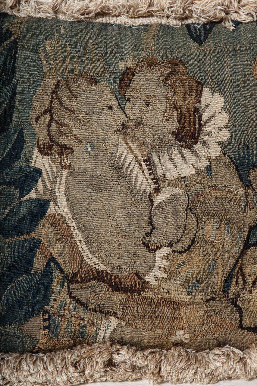 18th Century French, Tapestry Fragment Cushion In Good Condition For Sale In New York, NY