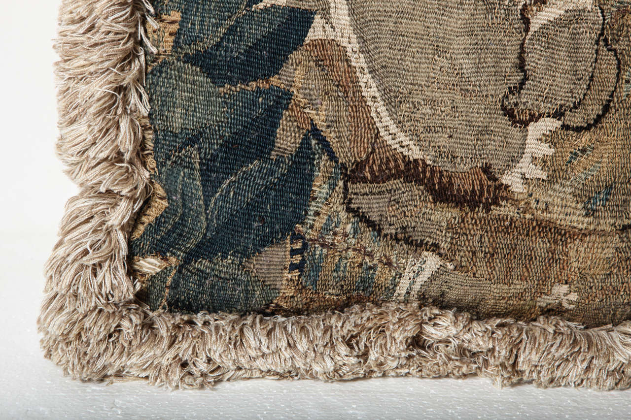 19th Century 18th Century French, Tapestry Fragment Cushion For Sale