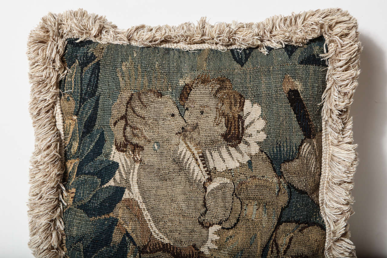 18th Century French, Tapestry Fragment Cushion For Sale 1