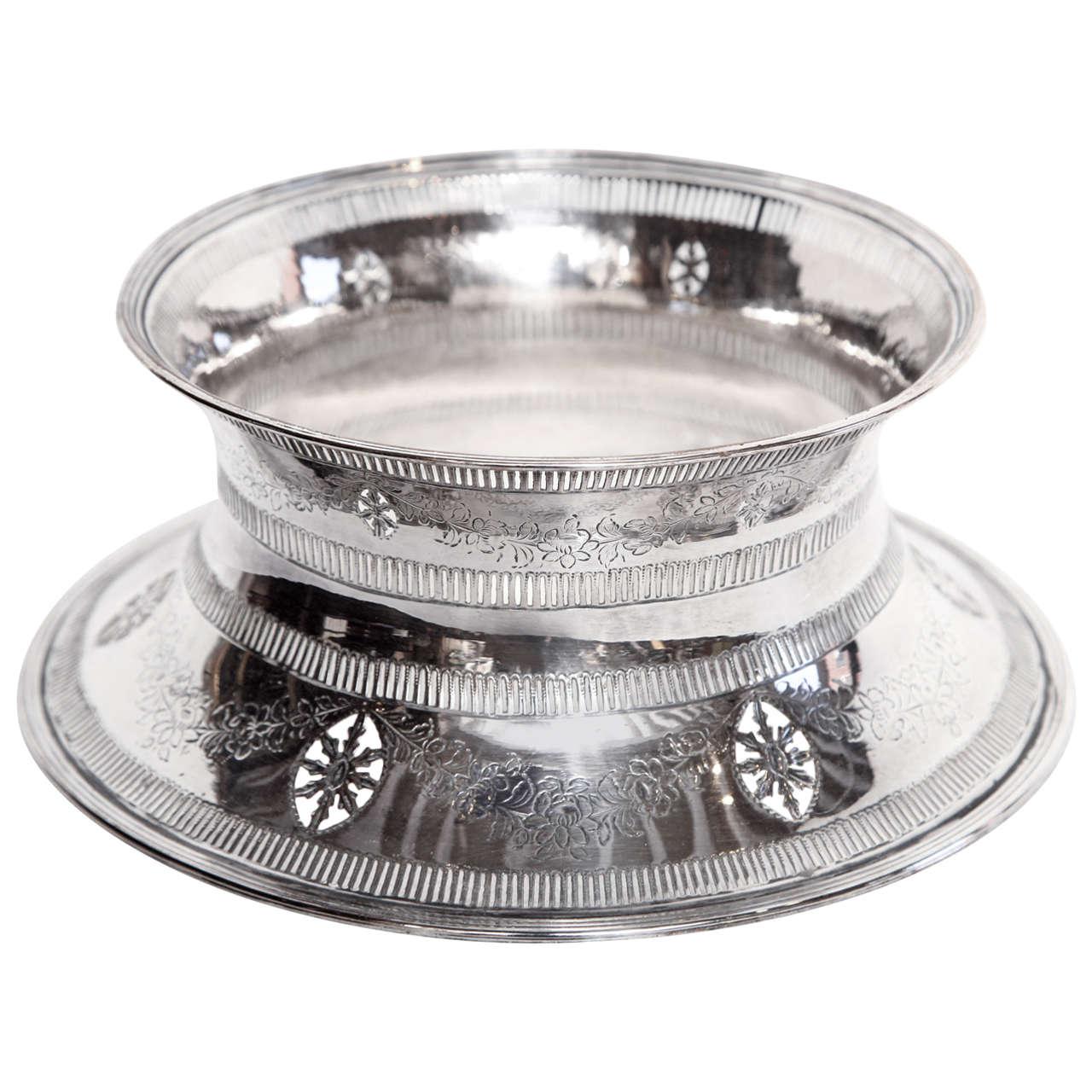 19th Century Irish, Silver Plated Potato Ring