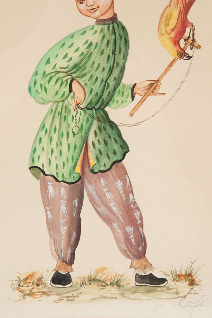 Unknown Painting, Water Colors, C 1950 For Sale