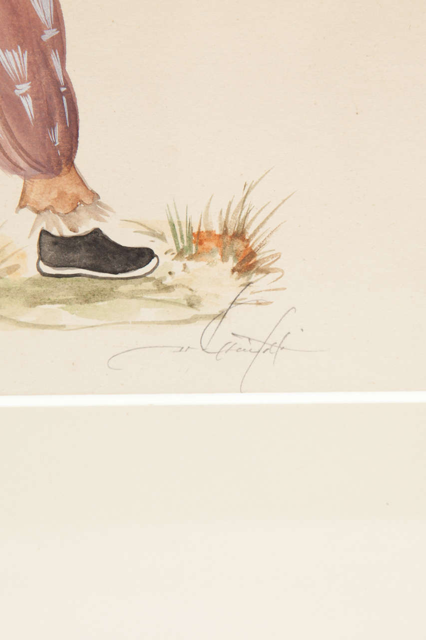 Hand-Painted Painting, Water Colors, C 1950 For Sale
