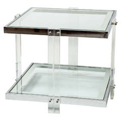 Side Table, Chrome and Lucite