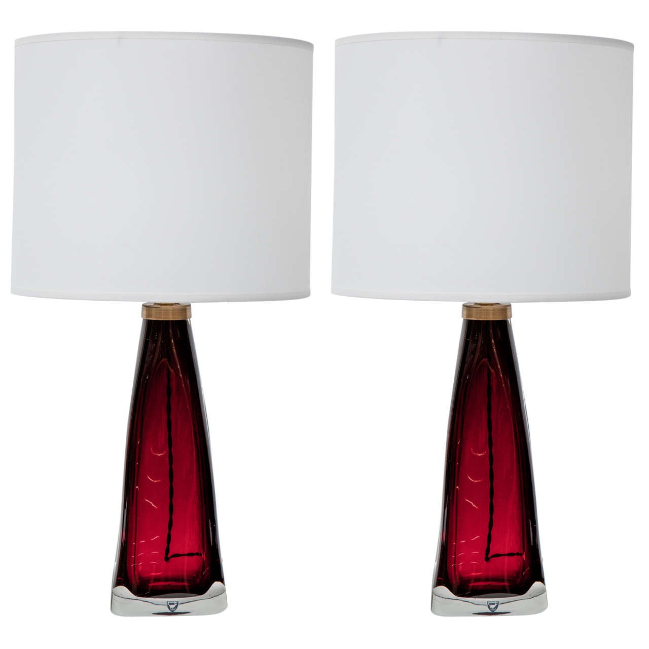 Pair of Red Orrefors Crystal Lamps