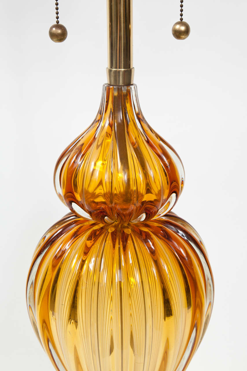 Pair of Murano Glass Lamps by Marbro In Good Condition For Sale In New York, NY