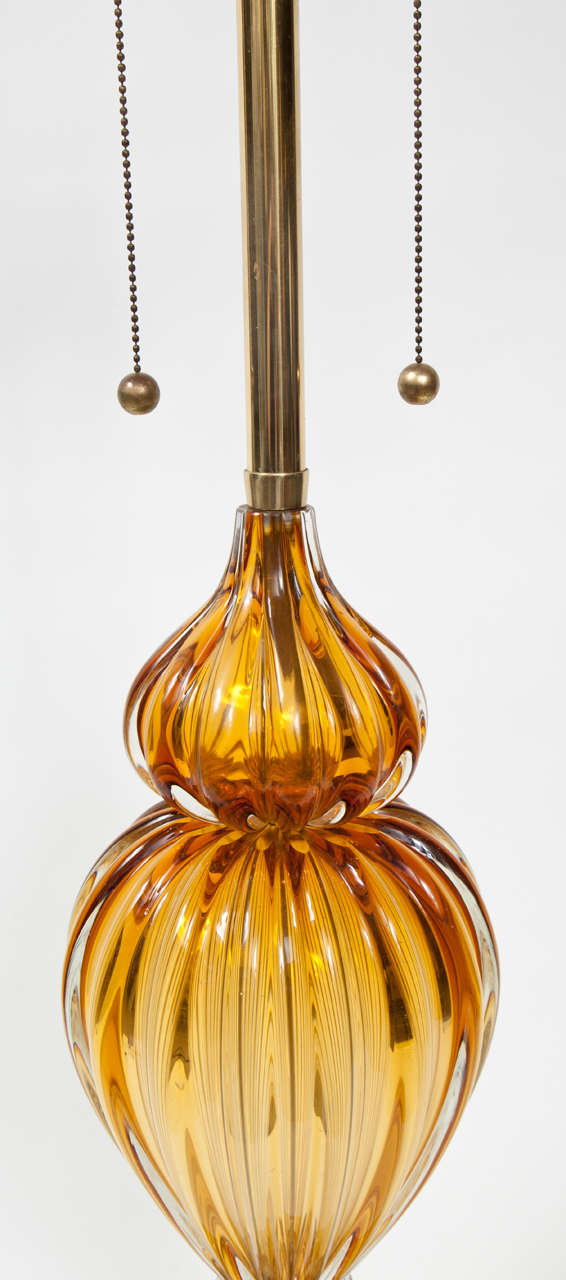 Pair of Murano Glass Lamps by Marbro For Sale 1