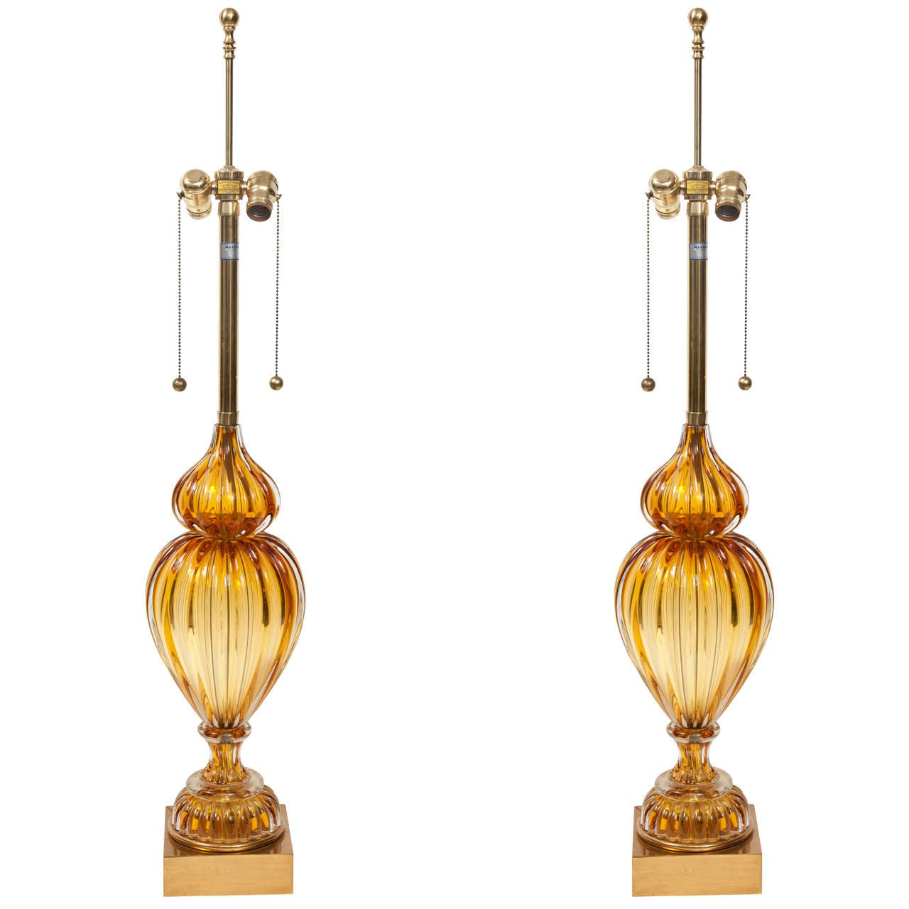 pair of murano glass lamps by marbro for sale at 1stdibs. Black Bedroom Furniture Sets. Home Design Ideas