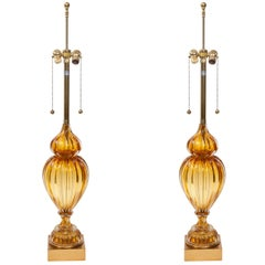 Pair of Murano Glass Lamps by Marbro