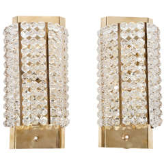 Pair of Lucite and Brass Sconces