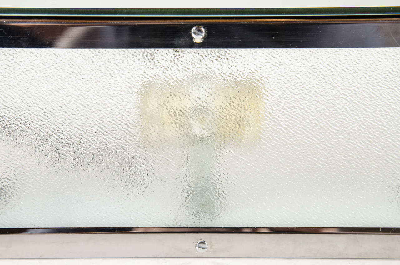 Mid-Century Modern Beveled Mirror and Relief Textured Glass Vanity Light at 1stdibs