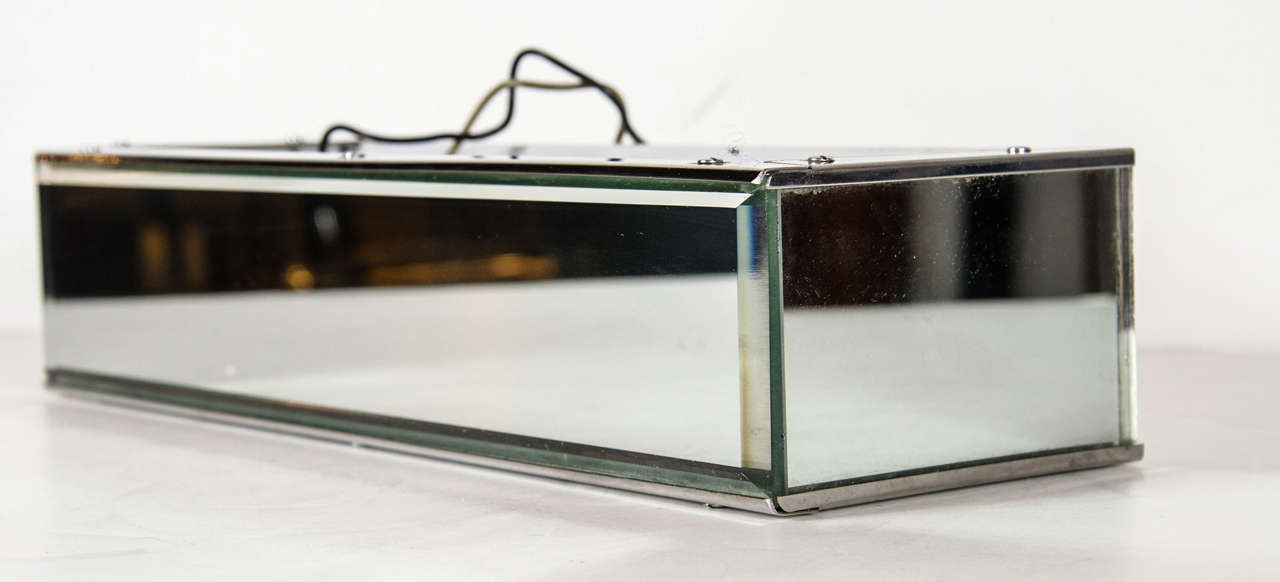 Mid-Century Modern Beveled Mirror and Relief Textured Glass Vanity Light For Sale at 1stdibs