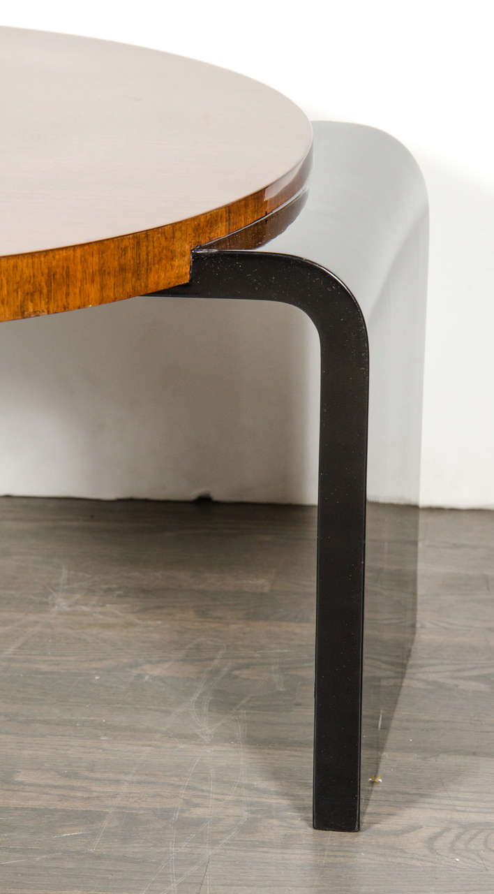American Streamline Art Deco Occasional Table in Walnut & Black Lacquer by Modernage For Sale