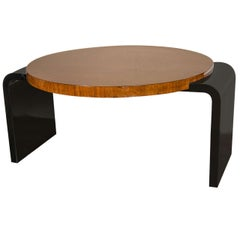 Streamline Art Deco Occasional Table in Walnut & Black Lacquer by Modernage