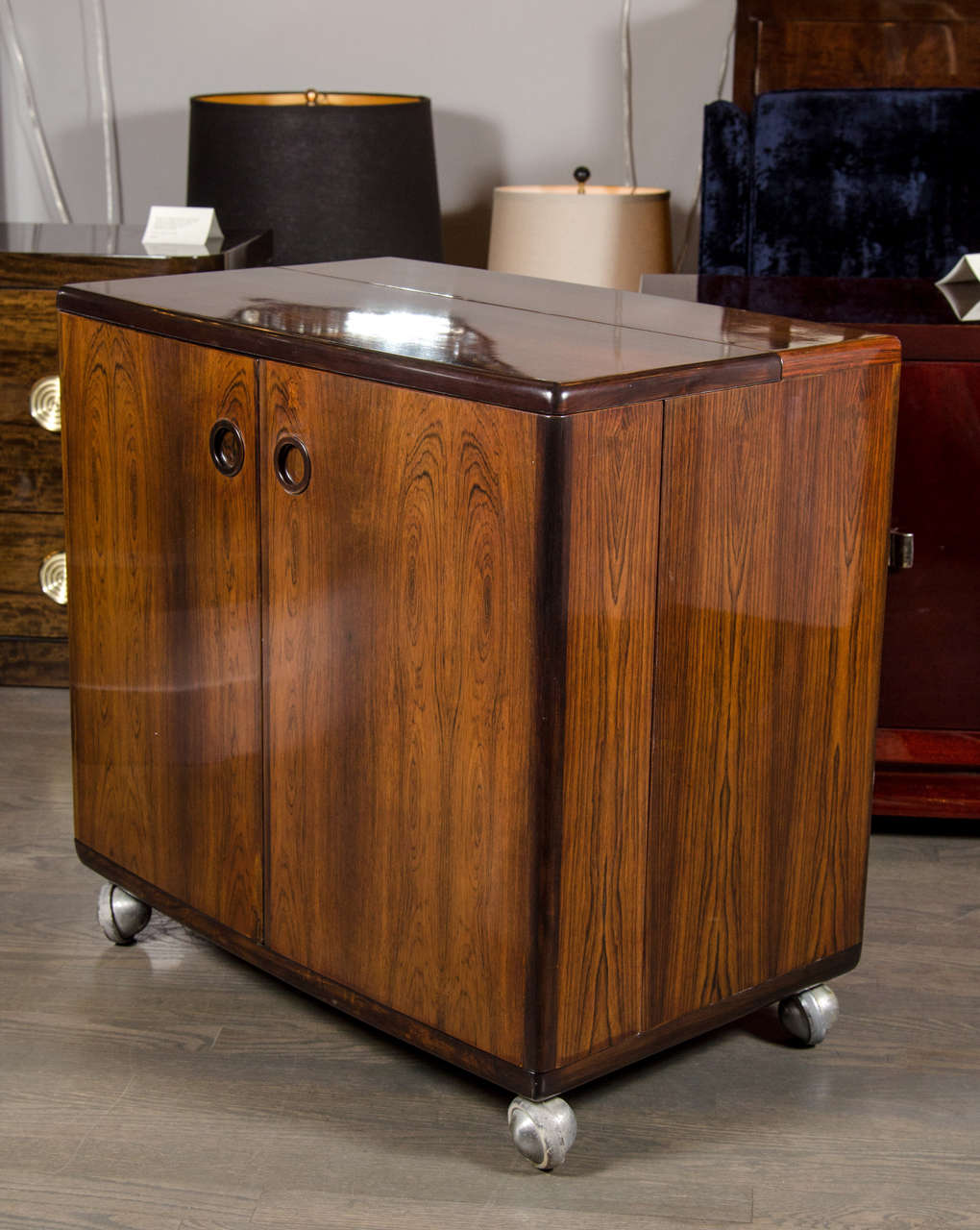 This Outstanding Mid Century Modernist Flip Top Bar Cabinet Features A Pair  Of Center