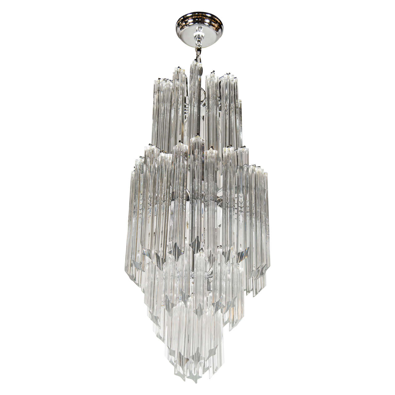 Mid-Century Modernist Skyscraper Form, Four-Tier Cut Triedre Camer Chandelier