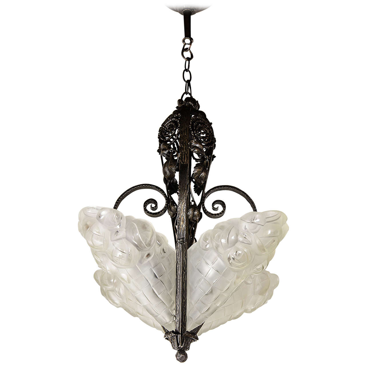 Exquisite Art Deco Chandelier By Degue For Sale At 1stdibs