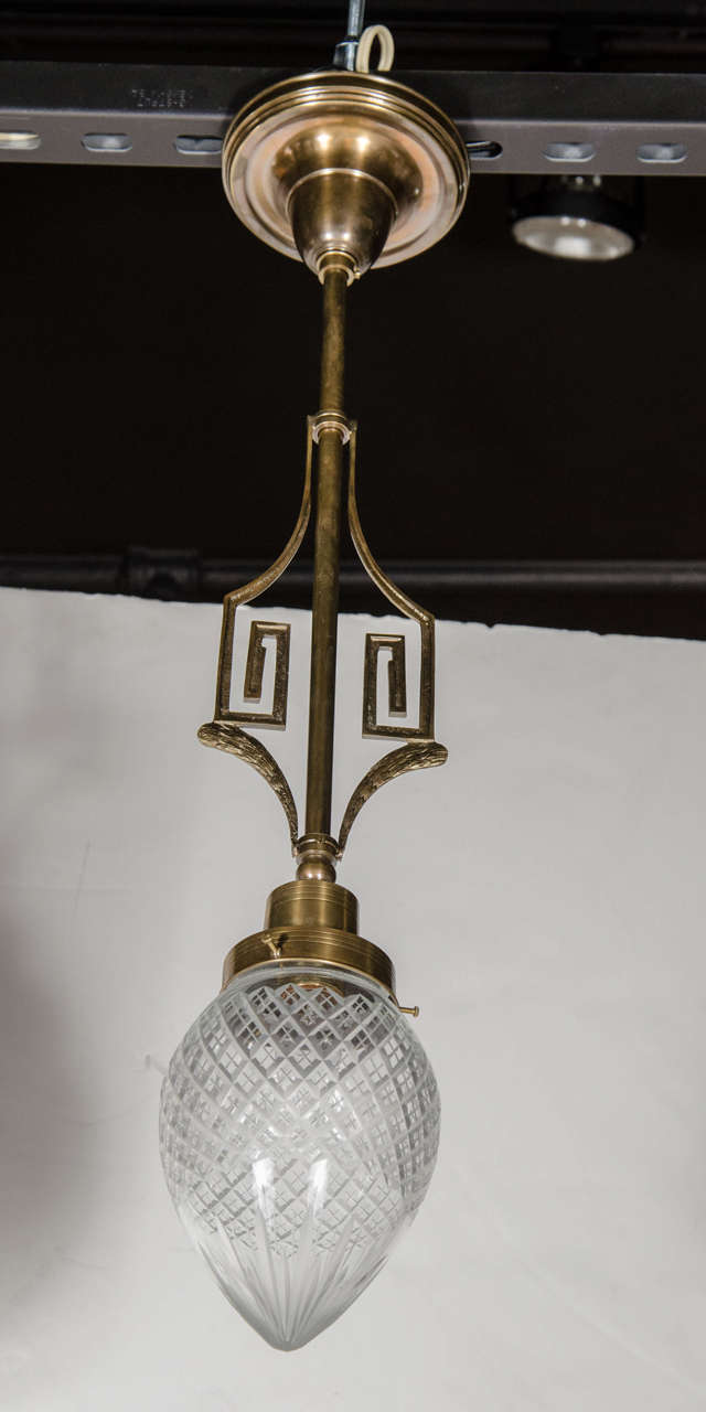 Art Deco Greek Key Pendant With Etched Glass Globe And