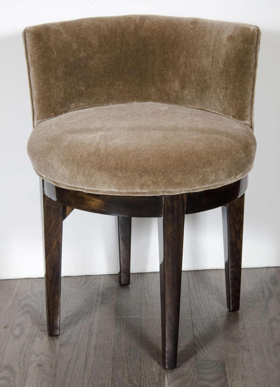 Art Deco Swivel Vanity Stool In Ebonized Walnut And Smoked