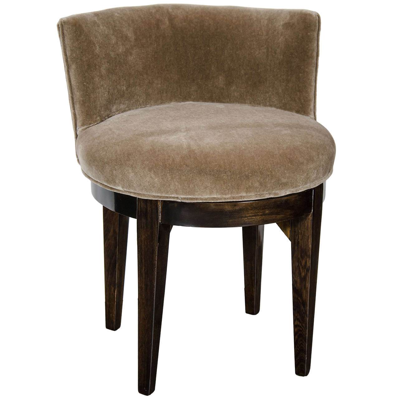 Art deco swivel vanity stool in ebonized walnut and smoked topaz mohair at 1stdibs - Tall vanity chair ...