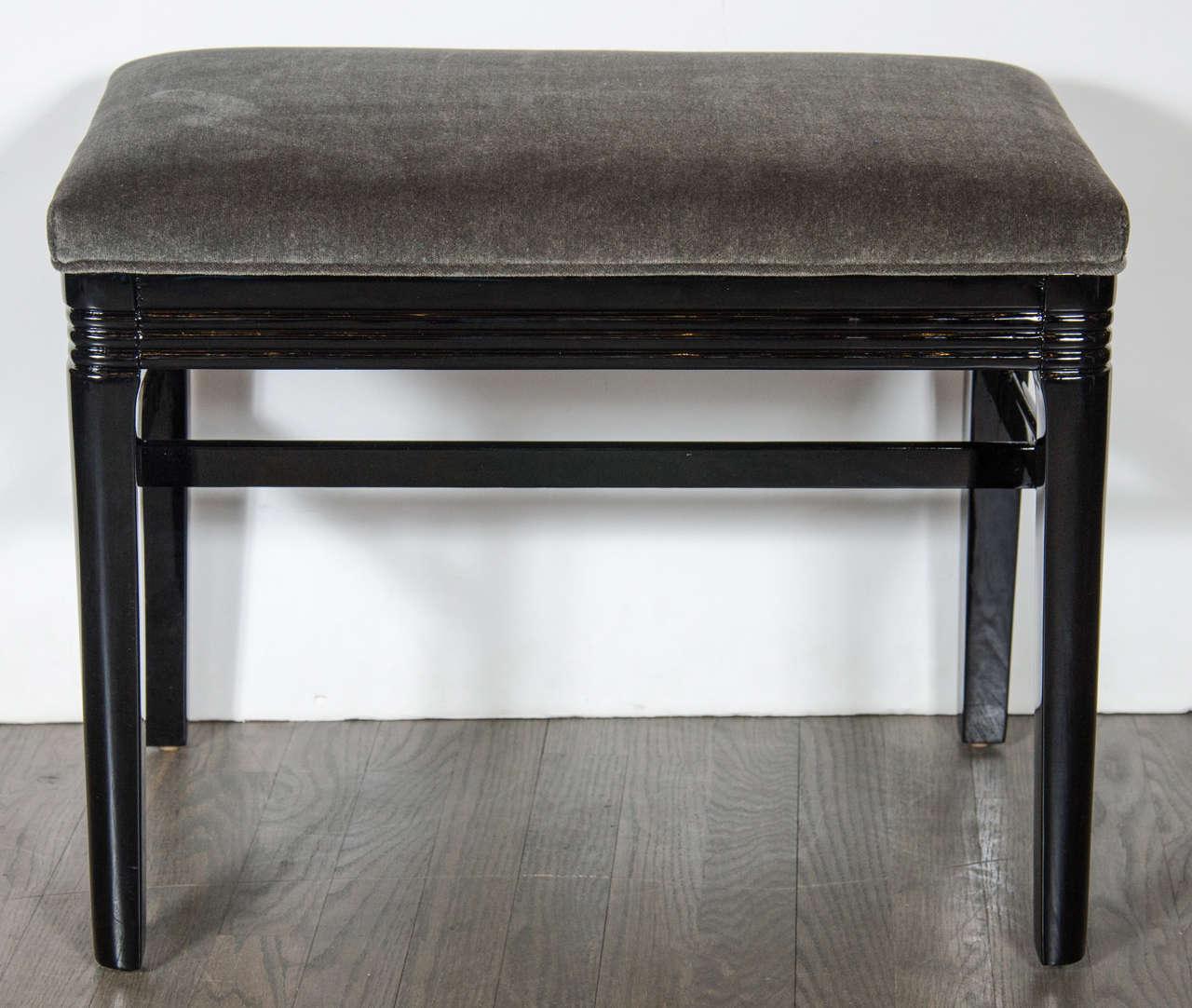 Outstanding Art Deco Machine Age Bench In Black Lacquer Grey Velvet Creativecarmelina Interior Chair Design Creativecarmelinacom