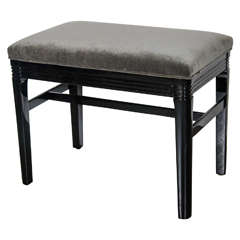 Art Deco Machine Age Bench in Black Lacquer & Grey Velvet