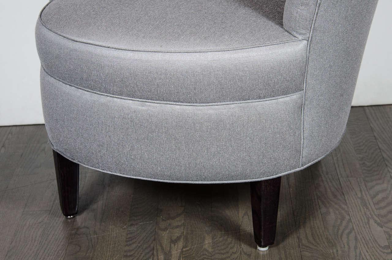 Delightful Glamorous Pair Of 1940s Asymmetrical Fan Back Chairs In Platinum Sharkskin 3