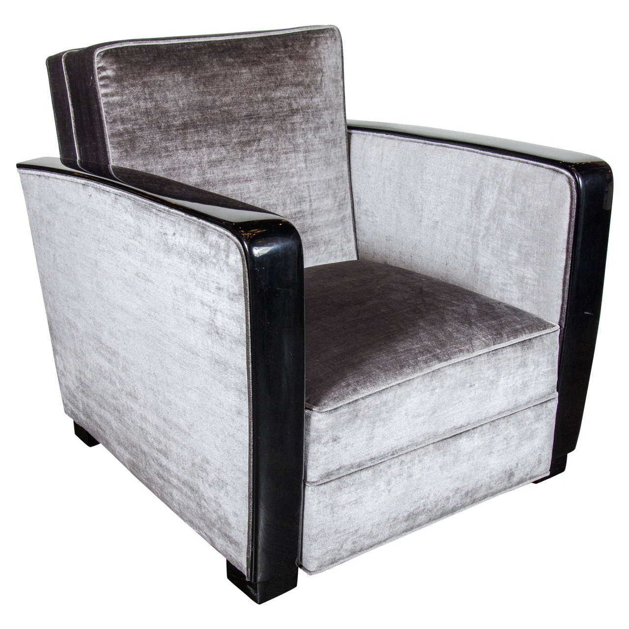 Bon Art Deco Club Chair In Black Lacquer With Velvet Upholstery For Sale