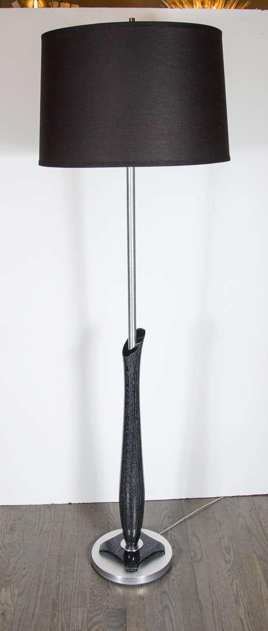 MidCentury Modernist Sculptural Silver Cerused And Brushed Aluminum - Brushed aluminum table base
