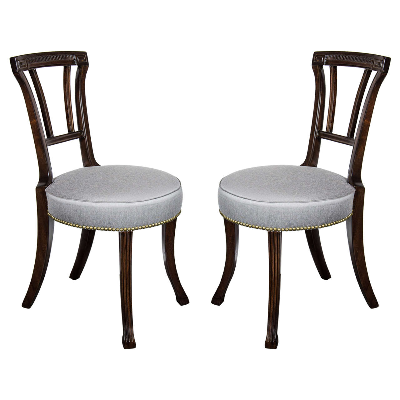 Pair of 1940s Hollywood Greek Key Occasional Chairs by Grosfeld House