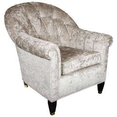 Mid-Century Modern Tufted Button Back Club Chair in Gauffraged Crocodile Velvet