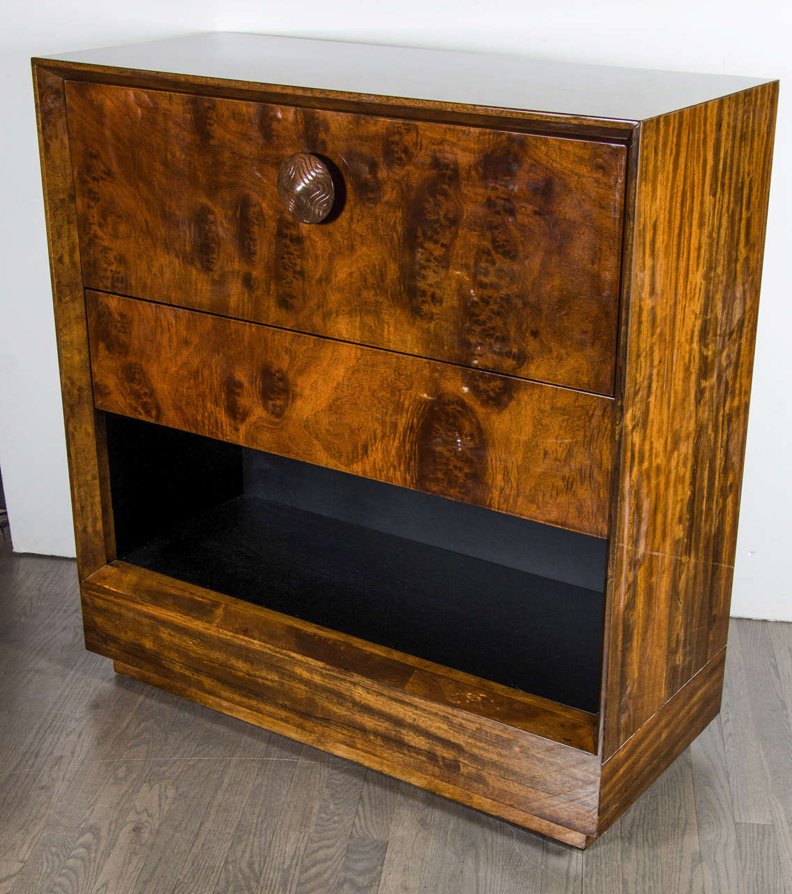 art deco drop front secretaire or bar cabinet by gilbert rohde in paldao wood at 1stdibs. Black Bedroom Furniture Sets. Home Design Ideas
