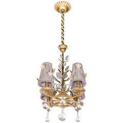 Exquisite Glass, Crystal and Gilt Chandelier in the Manner of Bagues