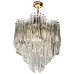 Mid-Century Modernist Scalloped Three-Tier, Cut Triedre Crystal Camer Chandelier